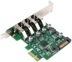 TARJETA CONTROLADORA USB 3.0 PCI-E -4 PUERTOS - ALIMENTACION SATA - COMPATIBLE PERFIL BAJO