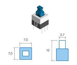 MICRO PULSADOR DE TACTO 6 PIN - (ON) OFF - PARA PCB PASANTE - 7x7x12mm
