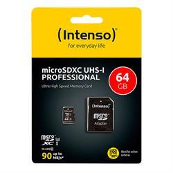 MEMORIA MICRO SD UHS-I 64GB INTENSO - CL10 - CON ADAPTADOR A SD