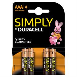 PILA ALCALINA DURACELL SIMPLY LR03 / AAA - BLISTER 4 UNIDADES