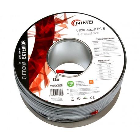 BOBINA CABLE COAXIAL ANTENA 75 ohm - 1x1,1mm - PARA EXTERIOR - NEGRO - 100 METROS