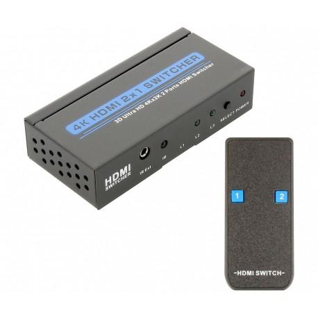 CONMUTADOR DE SEÑAL HDMI NIMO - 2 ENTRADAS A 1 SALIDA - 1080P - ACTIVO CON MANDO A DISTANCIA