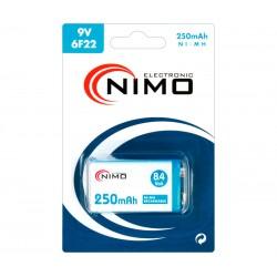 BATERIA NIMO RECARGABLE NI-MH 9V - RC22 - 250mA - 26,2x17,0x48,0mm
