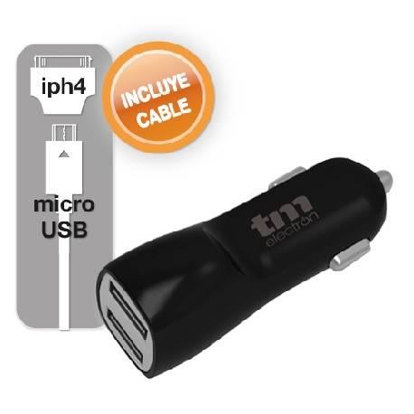 CARGADOR - ALIMENTADOR MECHERO TM 12VCC - USB 5V - 3100mA - x2 USB + CABLE MICROUSB