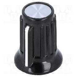 PERILLA CON INDICADOR EJE 6,35mm - 20x17mm - FIJACION A TORNILLO - NEGRO