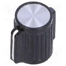 PERILLA CON INDICADOR EJE ABS 6mm - 25x14,1mm - FIJACION A TORNILLO - NEGRO