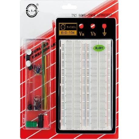 PLACA BOARD 1660 PUNTOS + MESA DE SOPORTE METALICO + JUEGO PUENTES - 215x130mm
