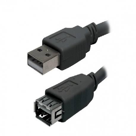 CONEXION / PROLONGADOR USB 2.0 MACHO - HEMBRA - 1,8 METROS - NEGRO